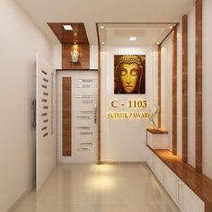 Entrance angle 2 minimalist corridor, hallway & stairs by square 4 design & build minimalist Modern Entrance Door, Main Entrance Door Design, Home Entrance Decor, Entrance Foyer, House Entrance, Door Design Interior, Foyer Design, Ceiling Design, Corridor Design