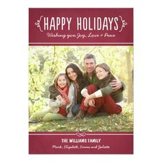 Shop Rustic Wine Red Happy Holidays Photo Holiday Card created by Plush_Paper. Personalize it with photos & text or purchase as is! Merry Christmas, Family Christmas Cards, Holiday Photo Cards, Holiday Photos, Christmas Photos, Christmas Greetings, Christmas Holidays, Christmas Ideas, Happy Holidays Wishes