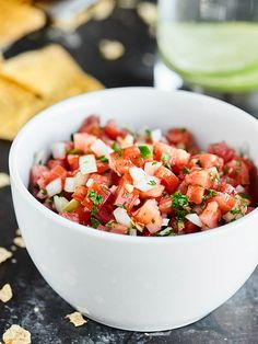 This Easy Pico de Gallo Recipe comes together in a matter of minutes! Fresh tomatoes, onion, cilantro, jalapeno, lime,