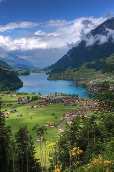 Lush landscape in Lungern, Switzerland.