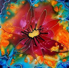 "Watercolor O'Keeffe's via ourartlately.blogspot.com ""  students ""use black pen to outline their drawings, then use watercolors to paint orgainic shapes over the tops of their flowers. Says J.Davis,""   This was my ""pin""spiration, this wet-on-wet flower I saw on Etsy. The shop is called ""Terrace Gallery""."
