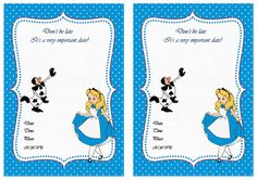 Alice in Wonderland FREE Printable Birthday Party Invitations