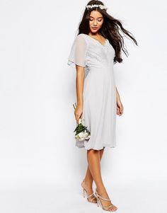 Image 1 ofASOS WEDDING Lace and Pleat Midi Dress