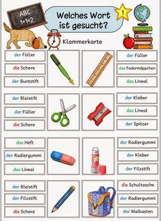 """Ideenreise: Klammerkarten """"Schulmaterial"""" für DAZ"""