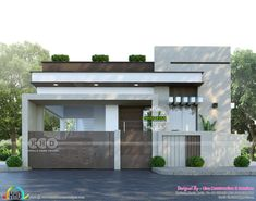 Kerala home design and floor plans: 850 square feet 2 BHK sober colored house plan Single Floor House Design, Bungalow House Design, House Front Design, House Design Photos, Small House Design, Village House Design, Kerala House Design, Modern Exterior House Designs, Modern Bungalow Exterior