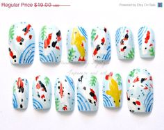 Summer SALE Asian japanese nail art koi fish oriental by Aya1gou, $17.67