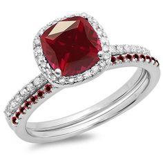 Rings, DazzlingRock, 18K White Gold Cushion & Round Ruby & Round White Diamond Bridal Engagement Ring Set (Size 4)