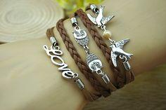 brown charm braceletsilvery alloy loveowlbirdbrown by Richardwu, $6.00