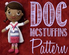 Doc McStuffins Amigurumi Crochet Pattern! #Doll #Doctor #Girl #Crochet #Easy #PDF #Instant Download #Doc #McStuffins #DocMcStuffins #Kids