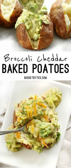 Broccoli Cheddar Baked Potatoes Broccoli Cheddar Baked Potatoes are an easy vegetarian dinner that uses simple ingredients to make a filling and flavorful meal. Vegetarian Comfort Food, Vegetarian Breakfast Recipes, Vegetarian Recipes Dinner, Simple Vegetarian Recipes, Recipes With Potatoes Vegetarian, Chicken Recipes, Vegan Meals, High Protein Vegetarian Meals, Beef Recipes