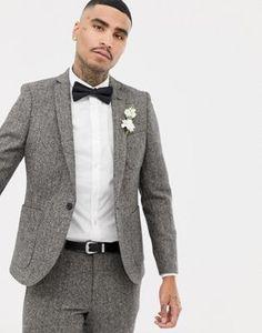 8c62ffbd1328 River Island wedding skinny fit suit jacket with herringbone print ...
