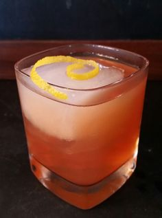 SAZERAC (OLD SCHOOL) - Cognac (Hennessy 1 oz), Rye (Cadée 1 oz), Gomme Syrup (.5 oz), Absinthe (Esprit Edouard, .25 oz), Peychaud's Bitters (5 dashes). Mix in mixing glass with ice, strain into rocks glass over fresh ice. Garnish with lemon peel. Yes, this is NOT what we are taught about modern Sazeracs - it's closer to the 1880 style, and a favorite recipe from T.A. Breaux who is the New Orleans king of Absinthe and the maker of the Esprit Edouard and Gomme syrup used in this drink. Love…