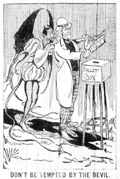 "Political cartoon ""Don't Be Tempted by the Devil,"" News and Observer, October 1898 - another example of media portrayal of the Fusionist Party towards the election of 1898 in North Carolina    Compliments of University of North Carolina at Chapel Hill    ushistoryscene.com"
