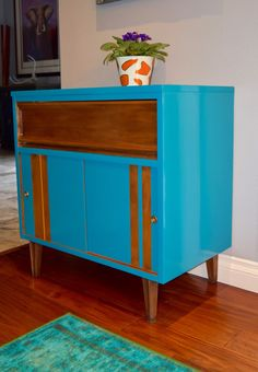 cute little mcm cabinet I did with BM-Advance in a glossy finish. Love this paint!