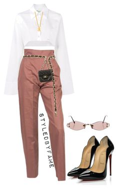 """""""Untitled #545"""" by styledbyfame ❤ liked on Polyvore featuring Off-White, Yves Saint Laurent, Chanel, Christian Louboutin and Cartier"""