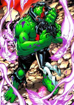 Hulk and Red She-Hulk by Tom Grummett