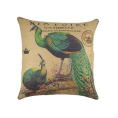 Peacock Burlap Pillow Cover Bird Throw Pillow by TheWatsonShop, $46.00