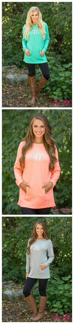We are in love with these gorgeous zip pocket pullovers! From relaxing in the backyard to running errands, these beautiful pullovers are perfect for staying cozy and showing off your beautiful monogram!