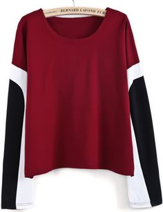 Wine Red Contrast Long Sleeve Loose Blouse - Sheinside.com
