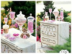 I like the idea of old fashioned candy jars.  could have candied fruit slices, truffles and jelly beans in my colors