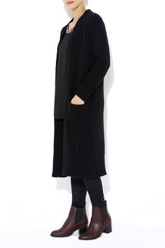 Black Longline Cable Cardigan  #MyChristmasStory