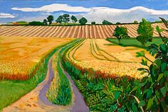 viewpoint - David Hockney, A Year in Yorkshire on ArtStack David Hockney Landscapes, David Hockney Art, David Hockney Paintings, David Hockney Ipad, Abstract Landscape, Landscape Paintings, Spring Landscape, Pop Art Movement, Arte Pop