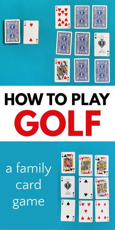 Golf is a fun family card game that is great for different ages. The rules are easy to learn and everyone will enjoy playing. Good card game for family game night, too! Family Card Games, Fun Card Games, Card Games For Kids, Kids Party Games, Preschool Games, Math Games, Golf Card Game, Games To Play With Kids, Family Game Night