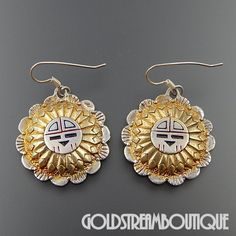 NAVAJO STERLING SILVER TWO TONE ENAMEL SUN FACE SUN GOD ROUND HOOK EARRINGS