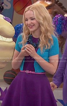 Liv's purple dress and blue cropped cardigan on Liv and Maddie.  Outfit Details: http://wornontv.net/51675/ #LivandMaddie
