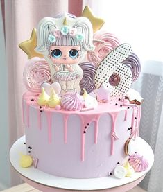 Beautiful one level high round cake decorated in pastel colors with LOL theme . Doll Birthday Cake, Funny Birthday Cakes, 5th Birthday, Lol Doll Cake, Bolo Cake, Surprise Cake, Character Cakes, Round Cakes, Girl Cakes