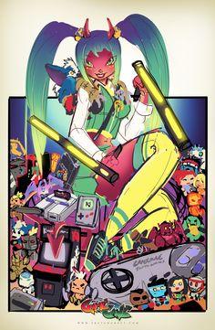 GameCave: Fighting  Junkies Mochi Print WIP 01 by RobDuenas.deviantart.com on @deviantART