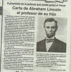 Carta de Abraham Lincoln al profesor de su hijo   superateatimismo