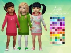 Clothing: Maxine Sweater Dress - Toddler Version from Aveira Sims 4 Sims 4 Cc Skin, Sims 4 Mm Cc, My Sims, Sims 4 Toddler Clothes, Toddler Dress, Toddler Outfits, Girl Toddler, Toddler Fashion, Boy Fashion