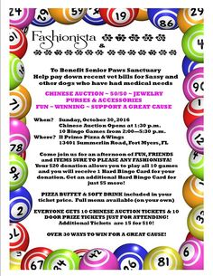 Fashionista Bingo....play fun Bingo games for charity! This Sunday Senior Paws Sanctuary joins us for a fun afternoon. Over 30 ways to win! At Il Primo in Fort Myers for a $20 donation that includes your first Hard Bingo Card, 10 Chinese Auction Tickets, 10 Door Prize Tickets, Pizza Buffet and Soft Drink. All other menu items available for purchase. Help us help this amazing senior dog rescue pay down vet bills and help more seniors in the local shelter.