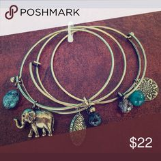 24 Hour SALE🌹3 Piece Antique gold bangle set Gorgeous arm candy. Elephants are known for good luck.  Bundle and save! Jewelry Bracelets