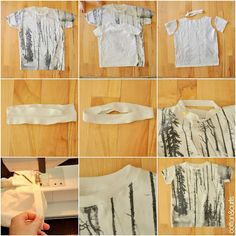 How to turn an adult t-shirt into a kid's t-shirt (cotton and curls)