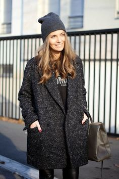 Team a charcoal coat with black leather skinny pants to achieve a neat and proper look.  Shop this look for $100:  http://lookastic.com/women/looks/beanie-long-sleeve-t-shirt-coat-tote-bag-skinny-pants/5718  — Charcoal Beanie  — Black and White Print Long Sleeve T-shirt  — Charcoal Coat  — Charcoal Leather Tote Bag  — Black Leather Skinny Pants