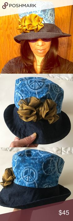 Denim Brim Hat ❤NWOT❤ Perfect for sunny days, bad hair days or adding pizazz to your favorite jeans.  Cotton top, denim Brim and gold flowers measures approximately 22 inches in circumference.  Brim is 4 inches wide, top of hat is 7 inches across and about 4 inches deep.  Complements guaranteed.  Pairs very well with blue tie-dye sundress also in my closet. NWOT Vina Accessories Hats