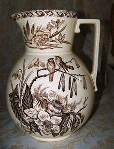 Captivating Antique Lg PITCHER BROWN TRANSFERWARE IRONSTONE Aesthetic BIRDS