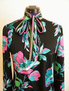 Vintage 1970s Flowered Neck Tie Blouse  by ThriftyVintageKitten, $18.00