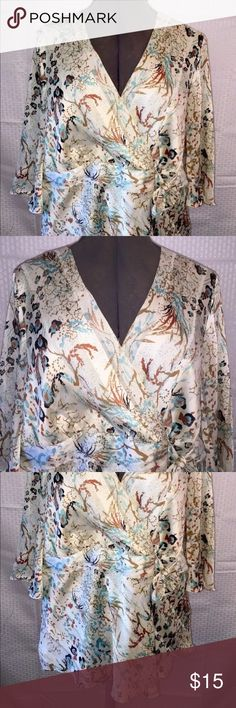 Lane Bryant  Plus Size Ivory Floral Print Lane Bryant  Plus Size Ivory Floral Print Tie Front Lined Blouse 18/20 or 1X  Measurements: Length from back collar to bottom: 25 inches Length from front neck line to bottom: 19 inches Underarm to underarm: 23 inches Lane Bryant Tops Blouses