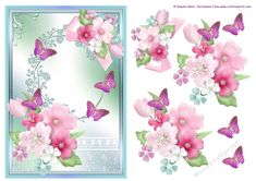 Flowers and butterflies card topper on Craftsuprint designed by Pamela West Art and Designs - Flowers and butterflies card topper - Now available for download!