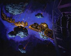Concept art for the Jules Verne-inspired iteration of Space Mountain at Disneyland Paris.
