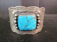 Wallace Yazzie Navajo OLD Pawn Kingman Turquoise & Sterling Silver Cuff Bracelet #Cuff