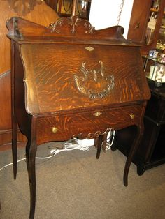 SOLD!! Just in, a gorgeous #Antique solid quarter sawn oak drop front #desk for only $549!