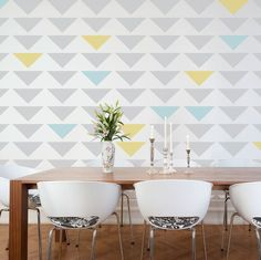 interior wall painting ideas | Triangle Feature wall, I love how they painted a few triangles ...