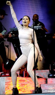 Inspired by Miley Cyrus? Jessie J pokes her tongue out during a performance at Scarborough...