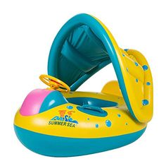 Uleade Cute Baby Float Seat Canopy Yacht Inflatable Pool Kids Swim Ring ** For more information, visit image link.Note:It is affiliate link to Amazon. #commentlike
