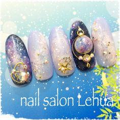 ギャラクシーネイル♡定額11,500円プラン|ネイルデザインを探すならネイル数No.1のネイルブック Halloween Nail Designs, Cool Nail Designs, Cute Nail Art, Beautiful Nail Art, Clear Nails, Gel Nails, Seashell Nails, Asian Nails, Galaxy Nails