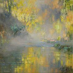 British Artist Rex PRESTON - Autumn Golds, Beresford Dale